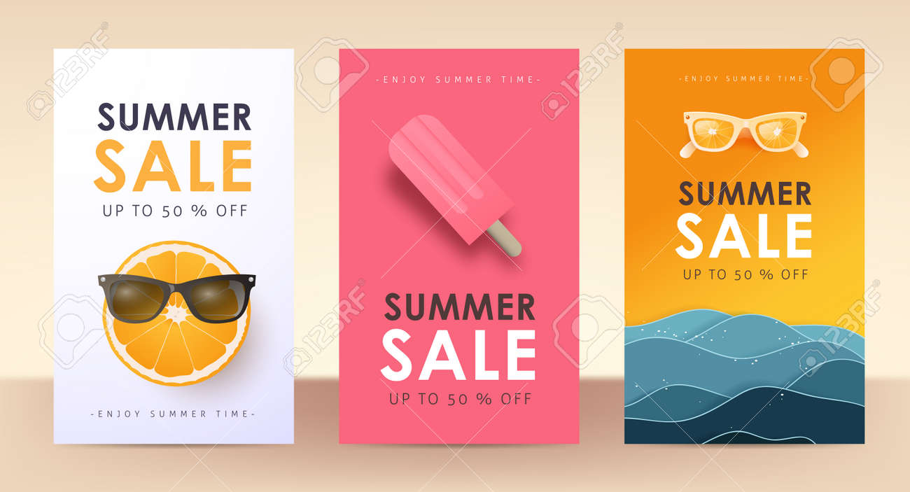 Colorful Summer sale layout poster banner background - 169772011