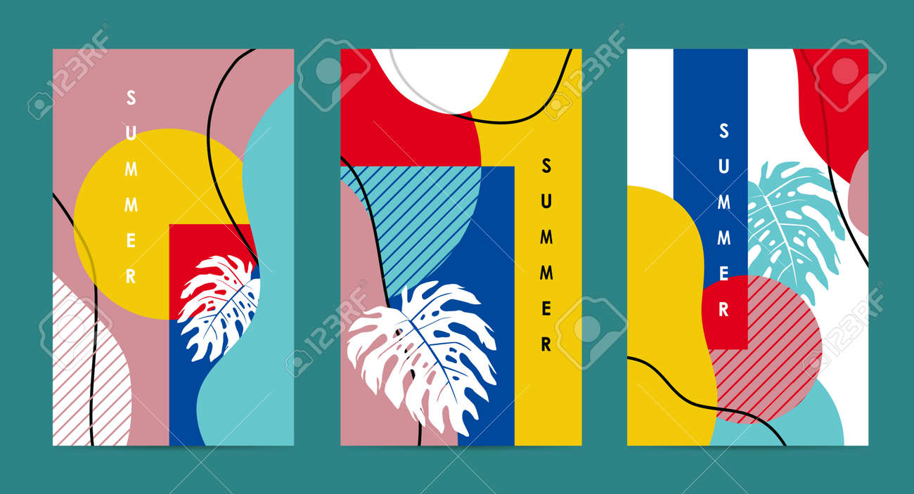 Trendy abstract art Summer layout poster banner background - 169772013