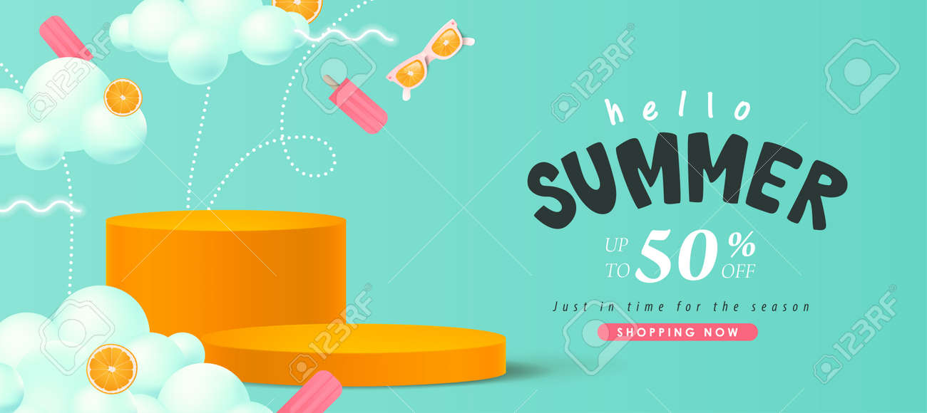 Colorful Summer sale banner with product display cylindrical shape - 169772016