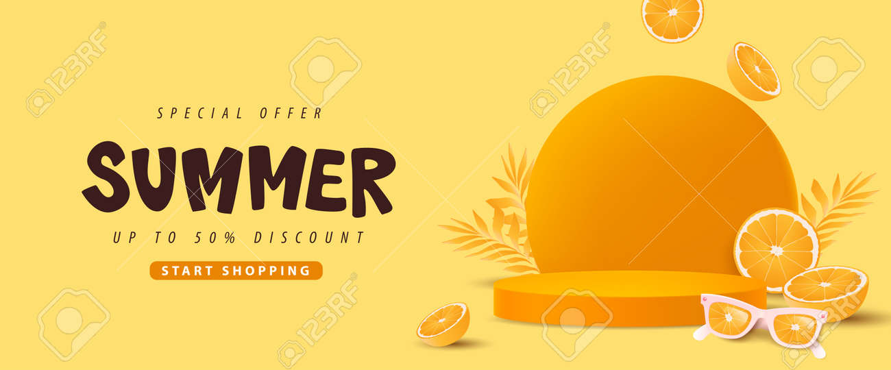 Colorful Summer sale banner with orange concept product display cylindrical shape - 169772018