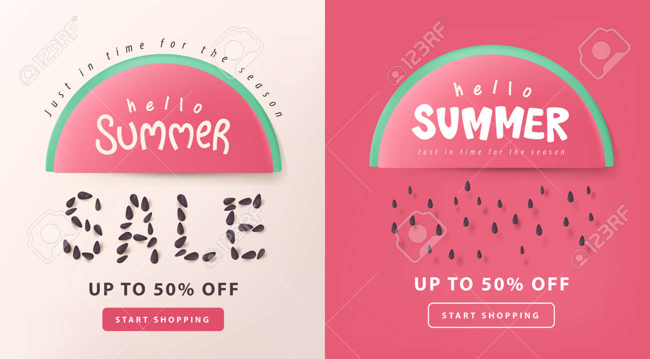 Summer sale layout poster banner background with watermelon concept - 169772020