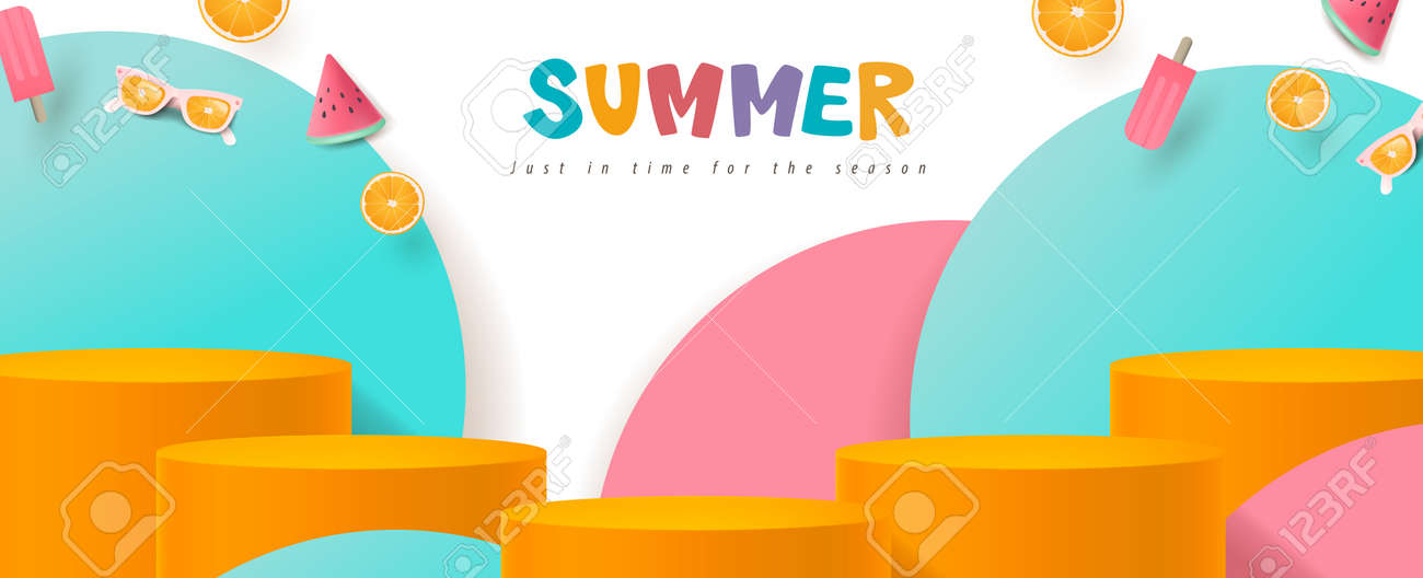Colorful Summer sale banner with product display cylindrical shape - 169772022