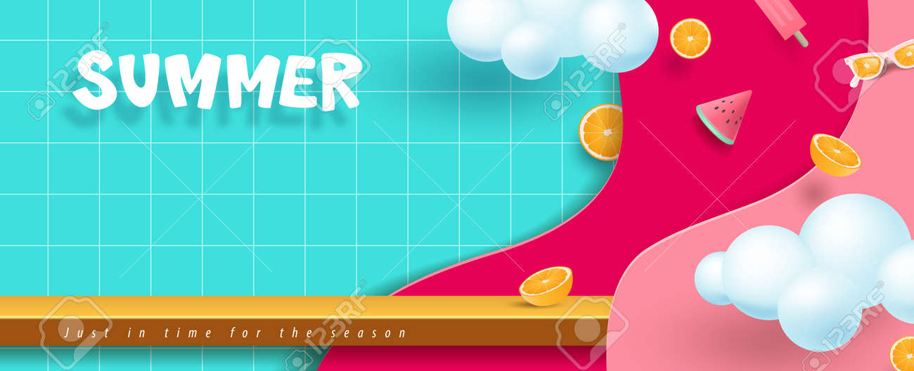 Colorful Summer sale banner with product display and copy space - 169772024