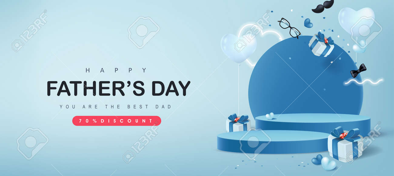 Happy Father's Day card with product display cylindrical shape and gift box for dad on blue background - 169772048