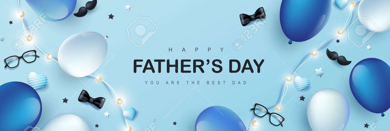 Happy Father's Day card with festive decoration on blue background - 169772051