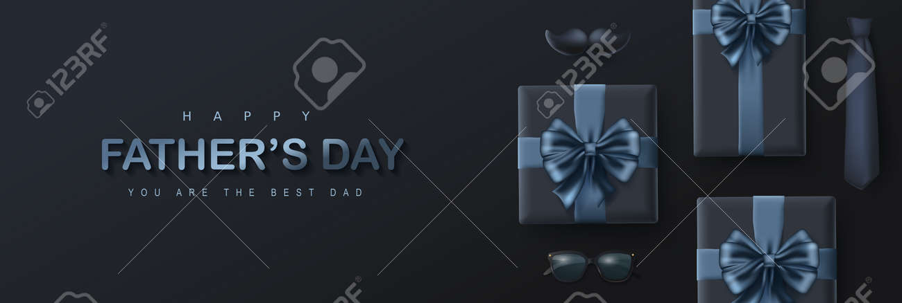 Happy Father's Day card with gift box on dark background - 169772052
