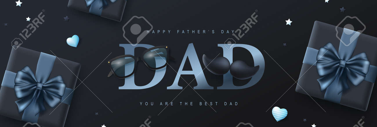 Happy Father's Day card with gift box on dark background - 169772053