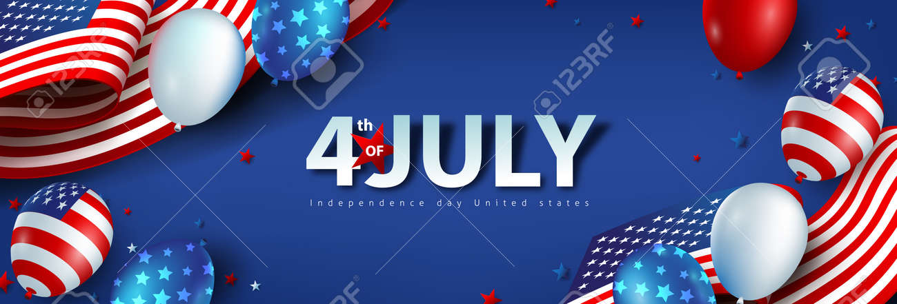 Independence day USA celebration banner with american balloons and Flag of the United States. 4th of July poster template. - 169772056