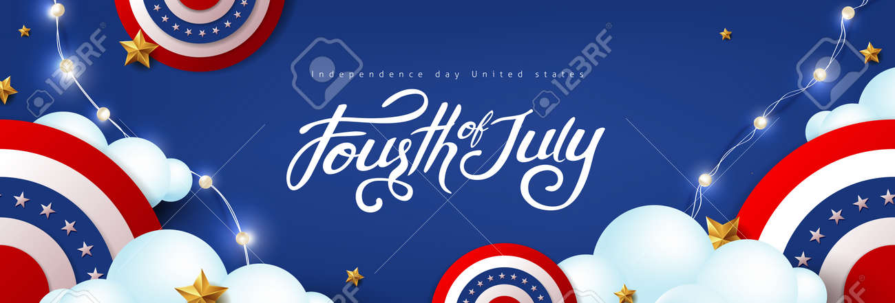 Independence day USA celebration banner with festive decoration american on cloud sky. 4th of July poster template. - 169772058