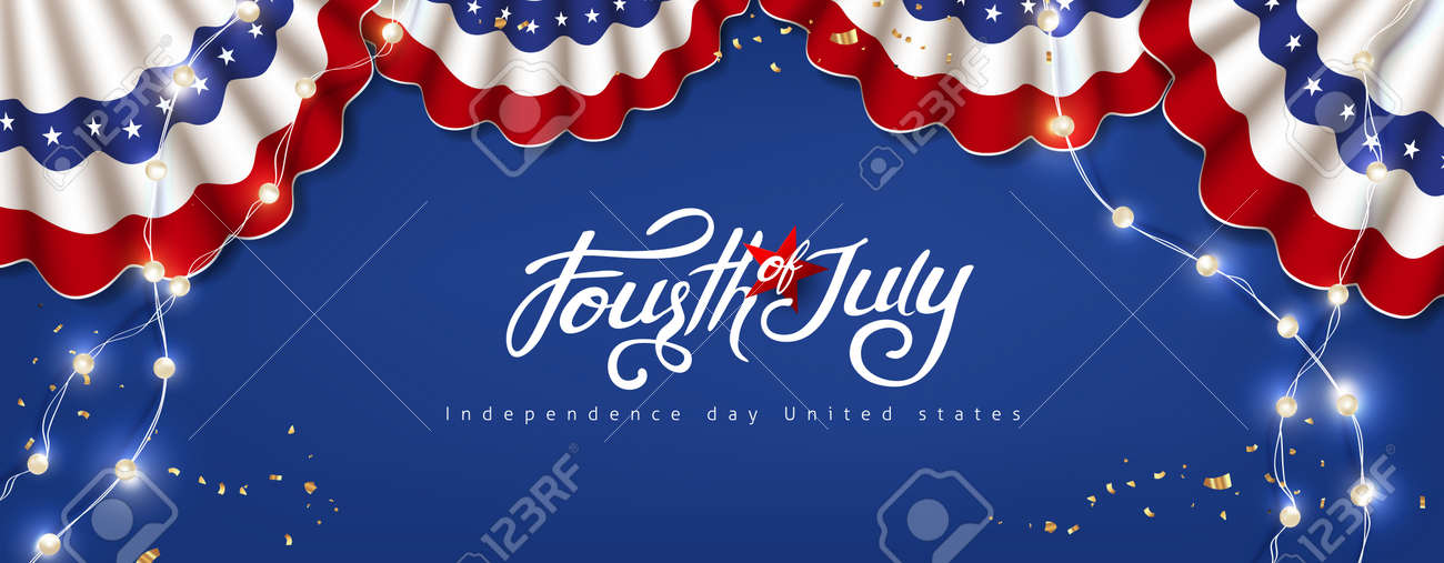 Independence day USA celebration banner with festive decoration american. 4th of July poster template. - 169772062