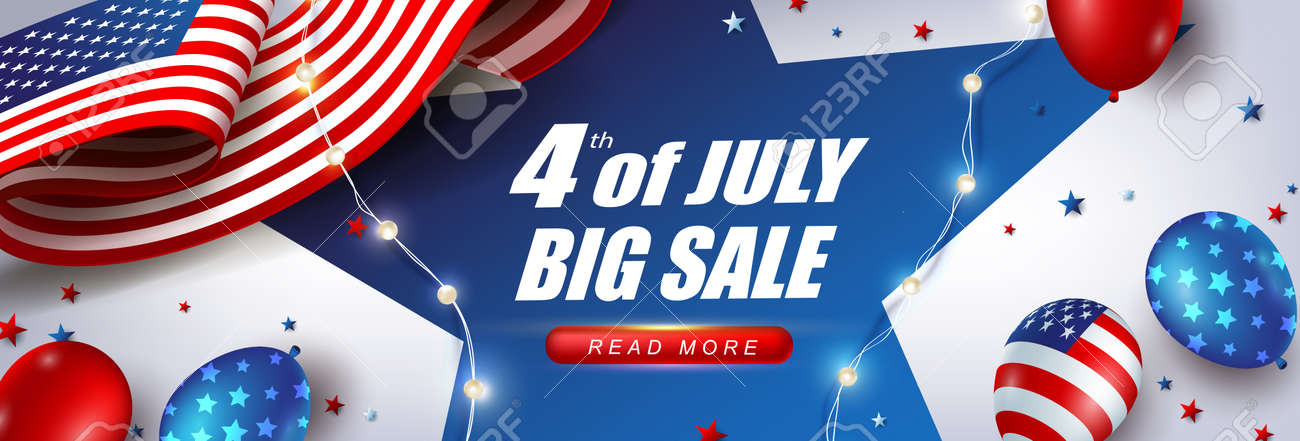 Independence day USA sale banner with american balloons and Flag of the United States. 4th of July poster template. - 170611575