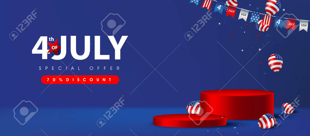 Independence day USA sale poster banner with product display cylindrical shape and american balloons - 170611577
