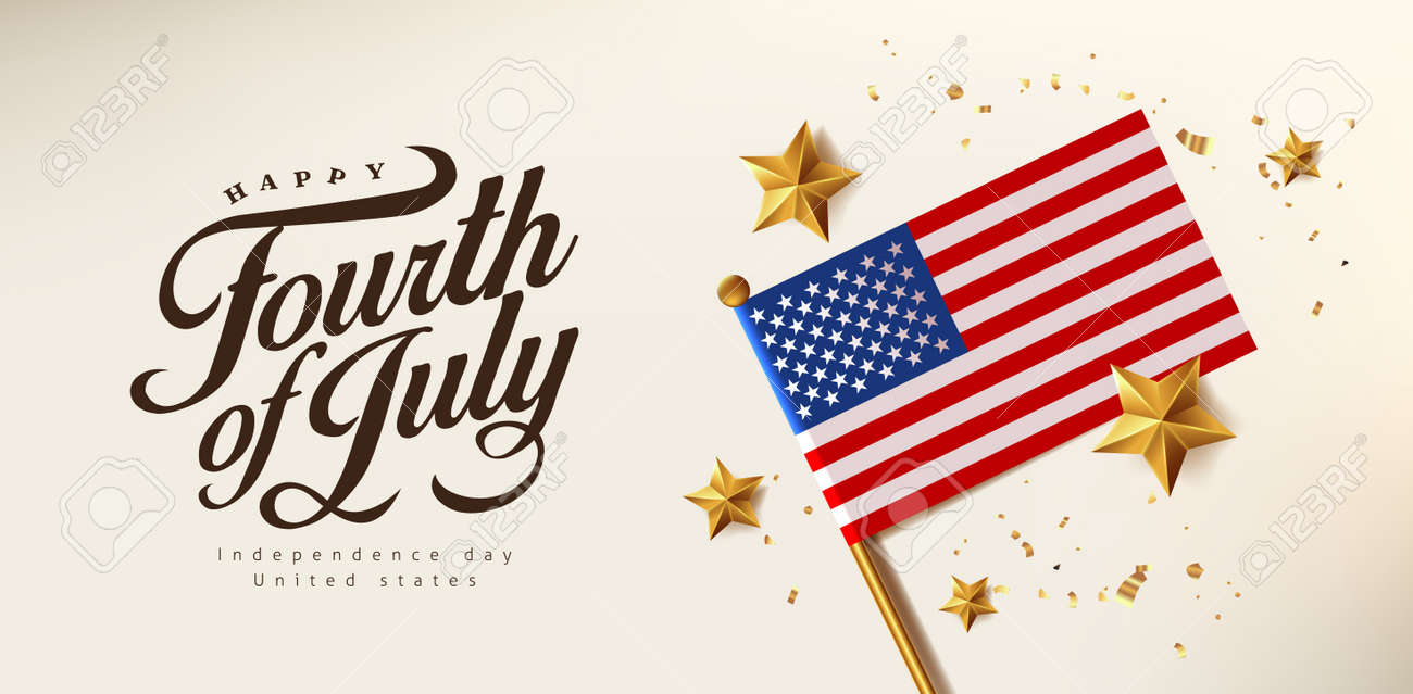 Independence day USA celebration banner with Realistic gold star and Flag of the United States. 4th of July poster template. - 170611578