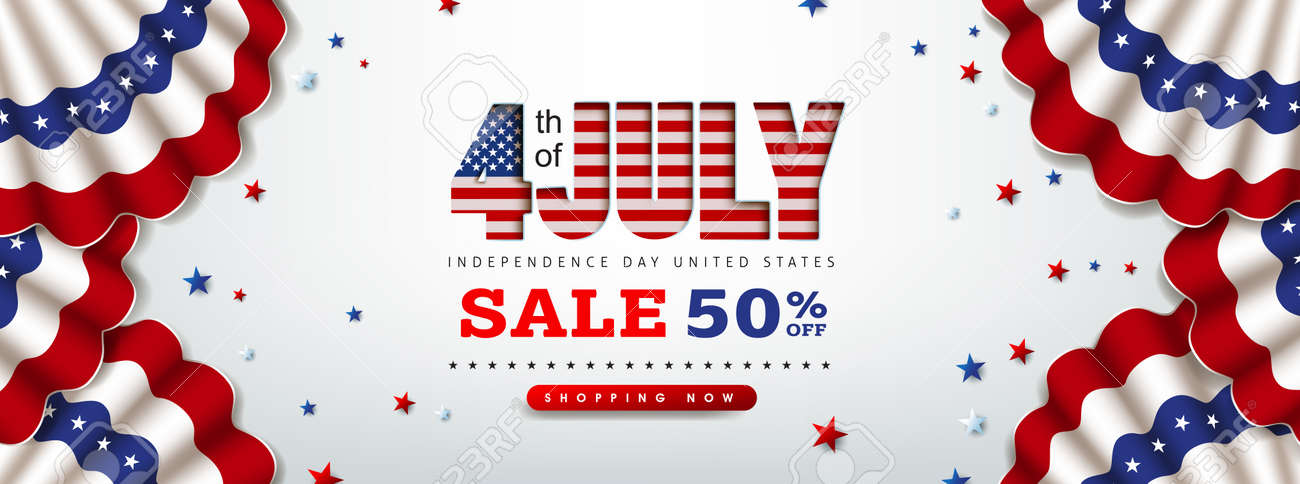 Independence day USA sale banner with Flag of the United States. 4th of July poster template. - 170611584