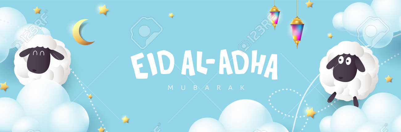Eid Al Adha Mubarak the celebration of Muslim community festival calligraphy with White sheep and cloud on the blue sky - 170611586