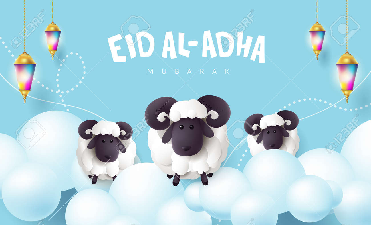 Eid Al Adha Mubarak the celebration of Muslim community festival calligraphy with White sheep and cloud on the blue sky - 170611598
