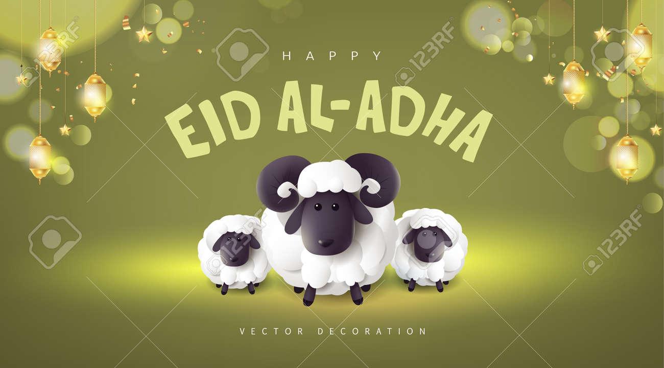 Eid Al Adha Mubarak the celebration of Muslim community festival banner with White sheep - 171284823