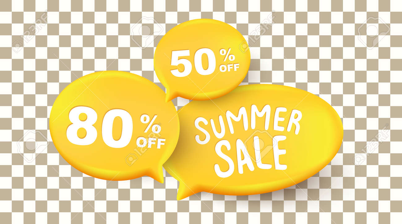 Summer sale background layout banners with Speak bubble text on the transparent background - 171682791