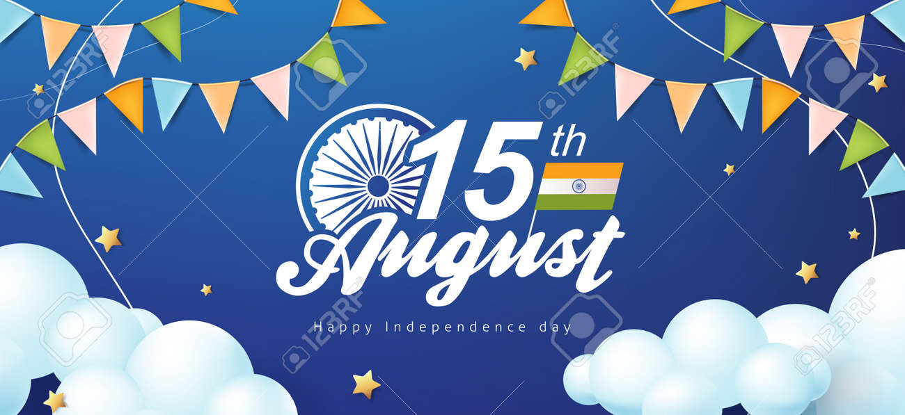 Independence day India celebration banner with star and cloud on the blue sky. 15th of August poster template. - 171852635