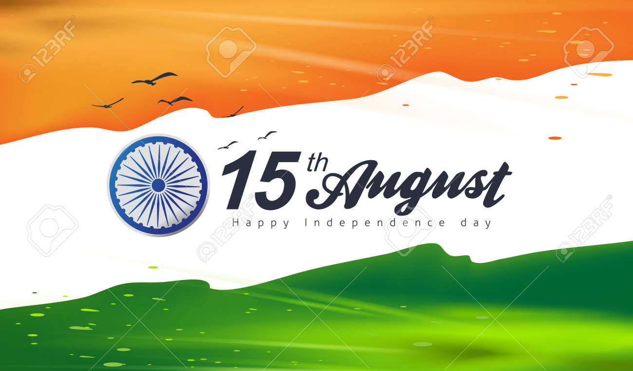 Independence day India celebration banner with flag color splash. 15th of August poster template. - 171852636