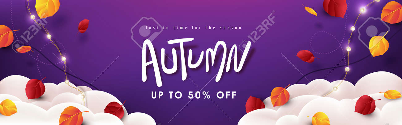 Autumn sale banner background layout decorate Variety of autumn leaves falling in sky with clouds - 171973702
