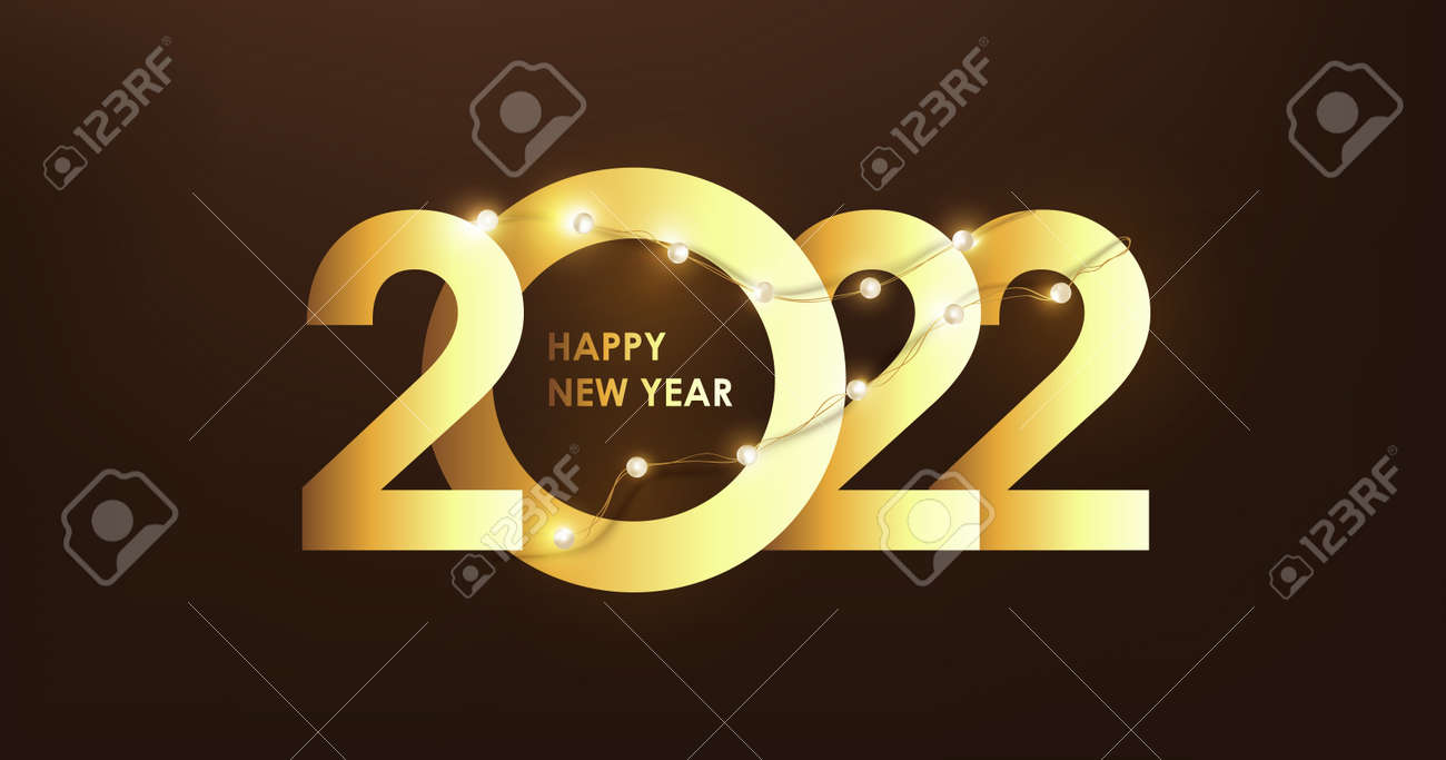 Happy New Year 2022 Number golden Text Design and led string lights - 172161308