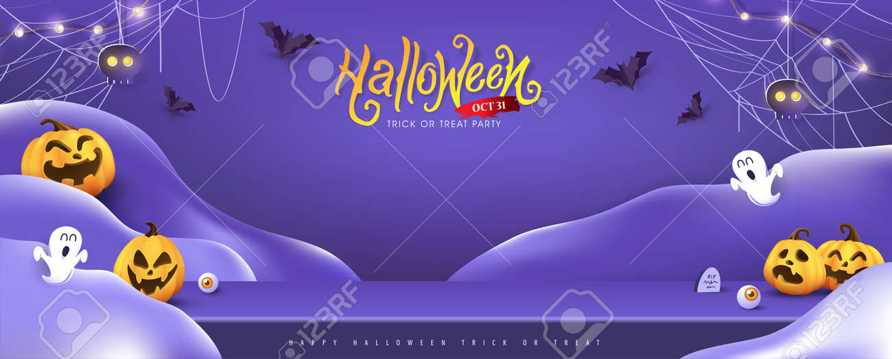 Halloween background design with product display and Festive Elements Halloween - 174255232