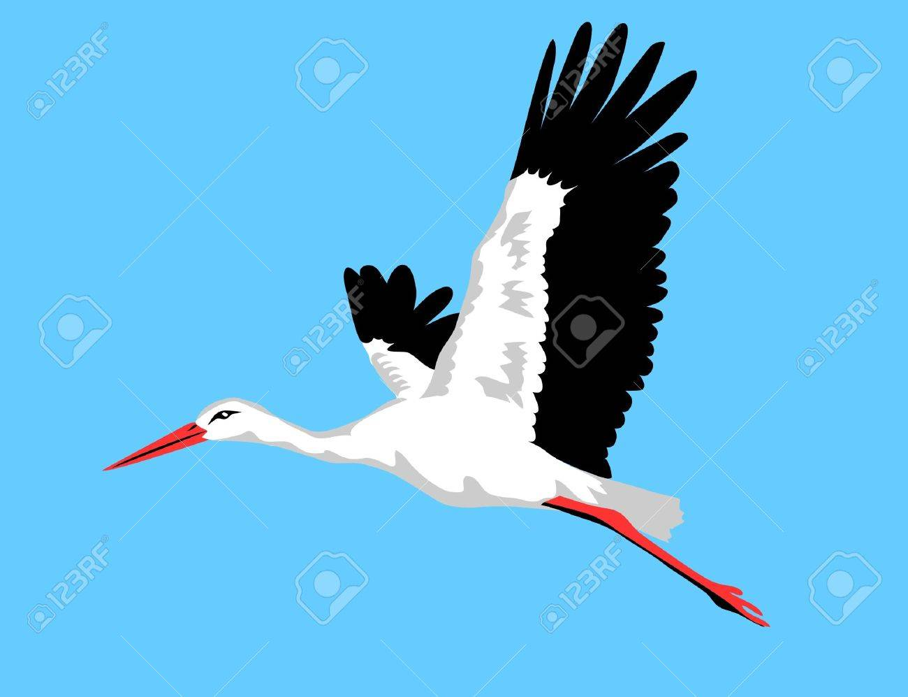 flying white stork Standard-Bild - 14738608
