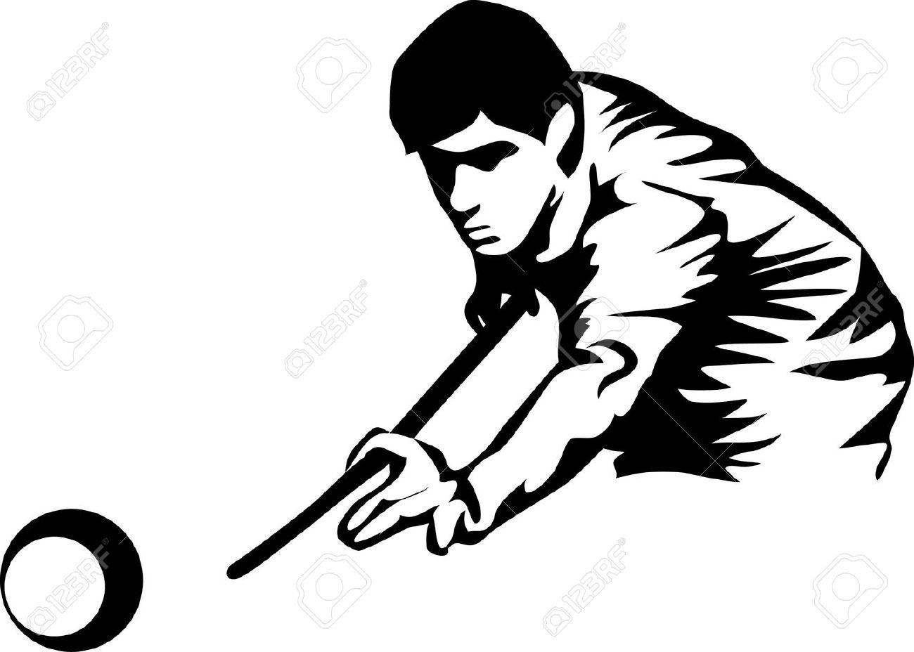 billiards black and white. Billiards Player Stock Vector - 17031329 Black And White