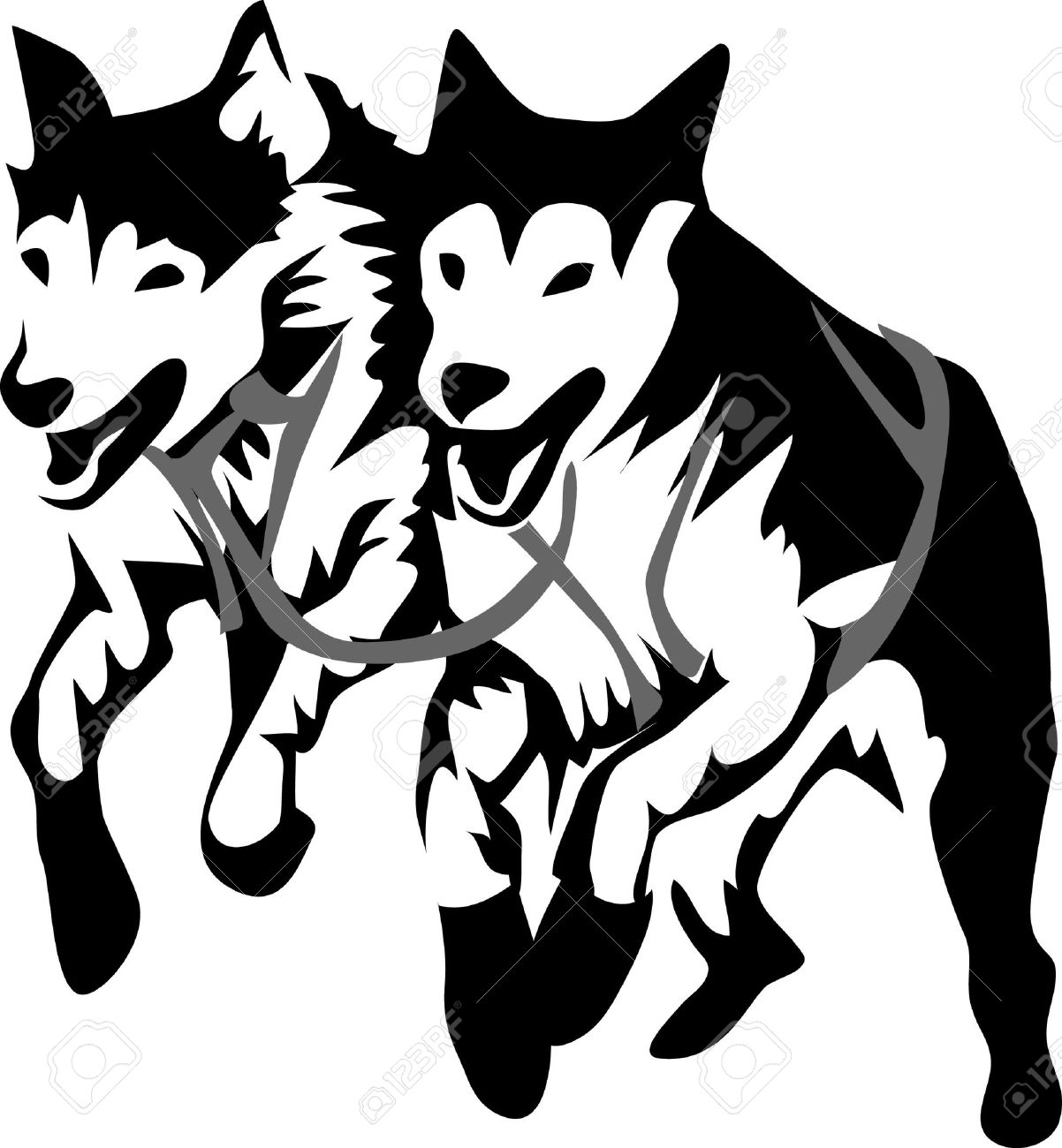 sled dogs running royalty free cliparts vectors and stock rh 123rf com dog sledding clipart dog pulling sled clipart