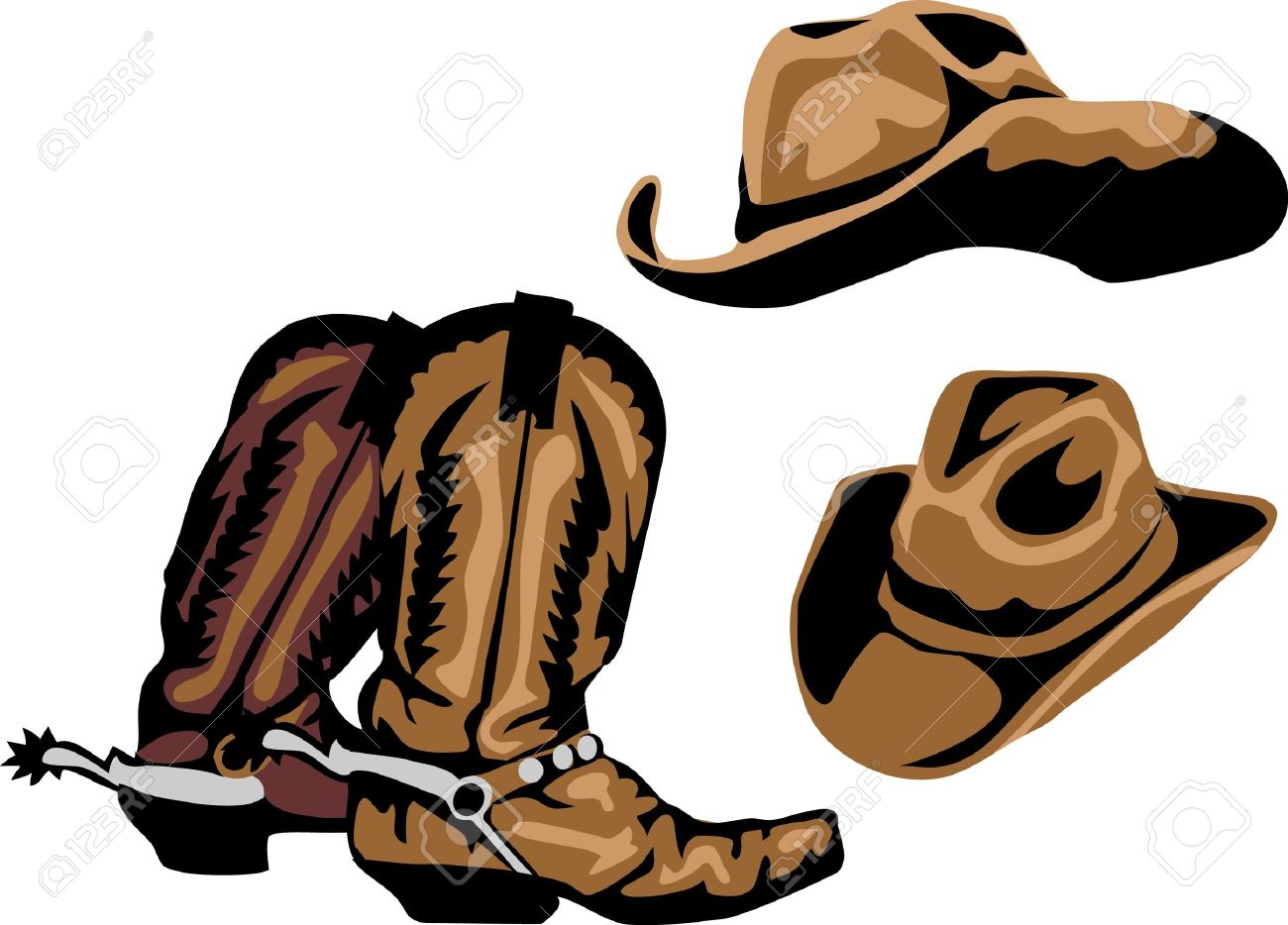 Cowboy Boots And Hats Royalty Free Cliparts, Vectors, And Stock ...