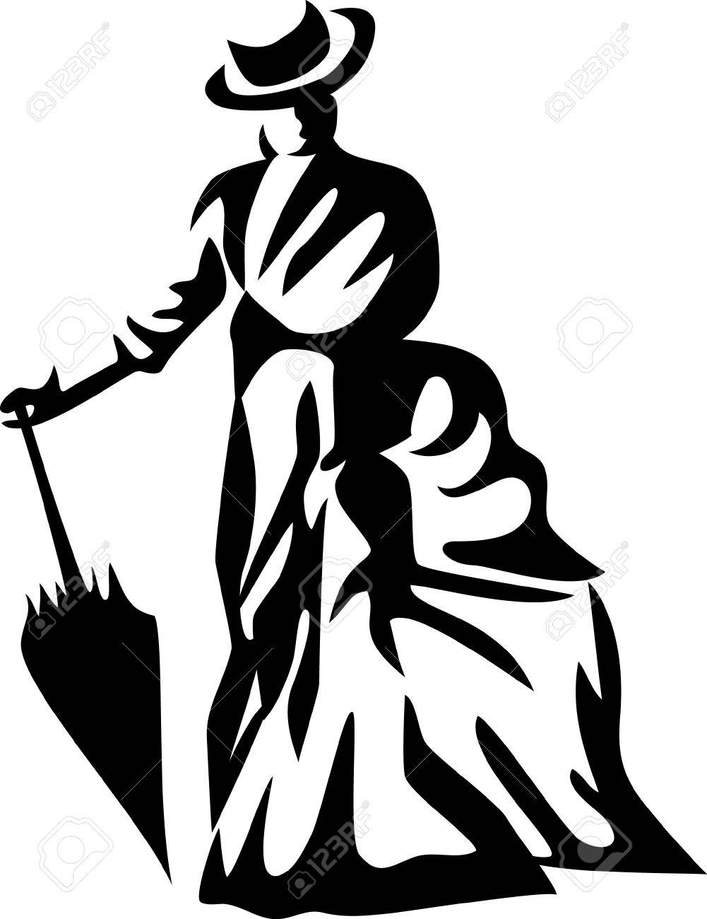 stylized victorian lady with umbrella Stock Vector - 22027907