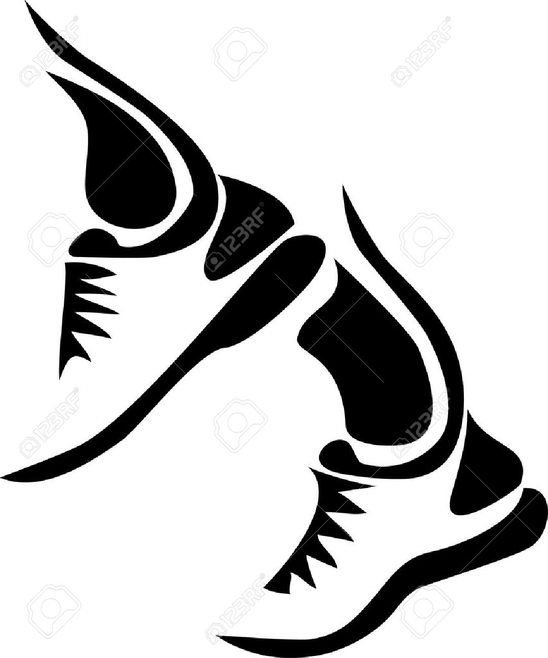stylized running shoes royalty free cliparts vectors and stock rh 123rf com running shoe silhouette vector running shoe vector icon