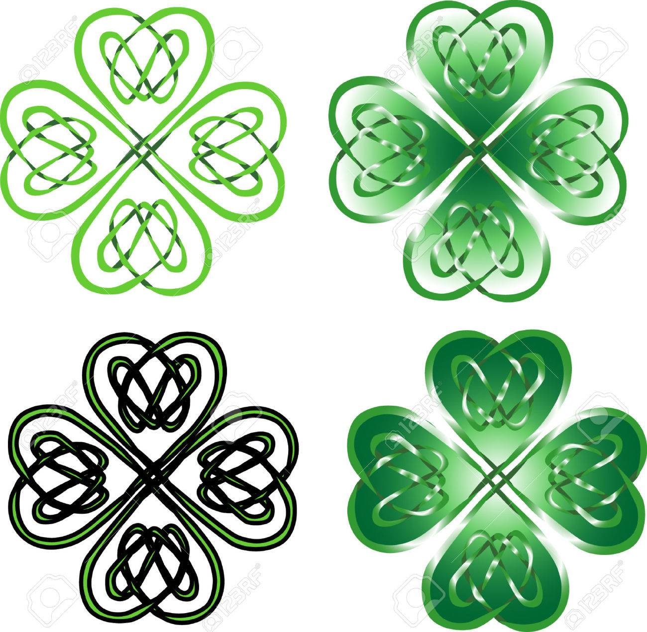 four leaf clover celtic ornament royalty free cliparts vectors