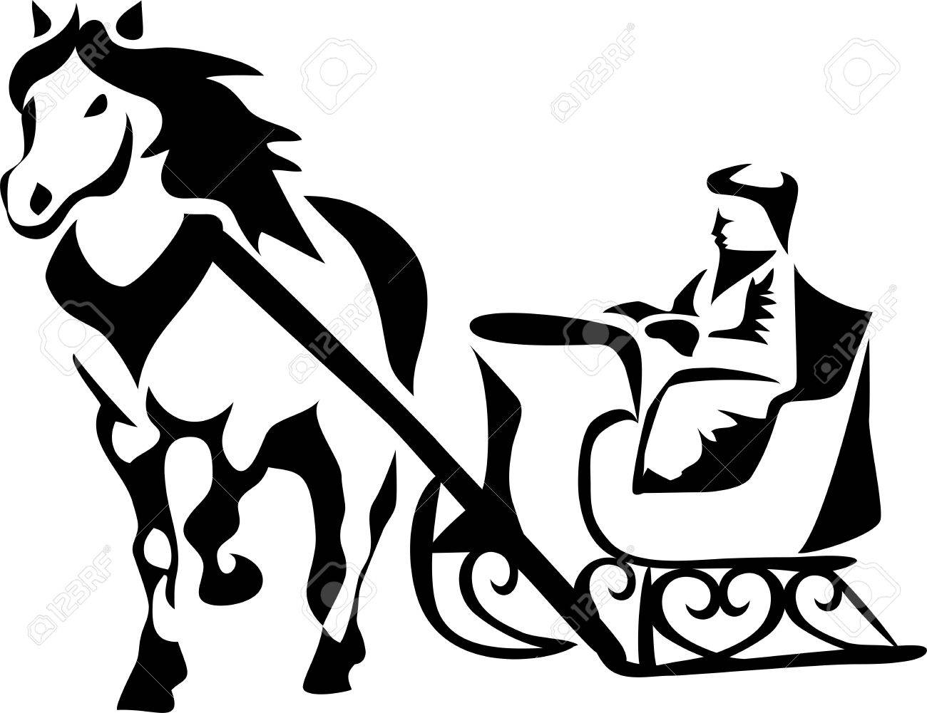 horse drawn sleigh royalty free cliparts vectors and stock rh 123rf com free clipart of horse drawn sleigh Christmas Horse Clip Art