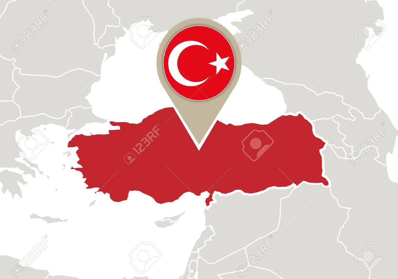 europe with highlighted turkey map and flag stock vector 34842482