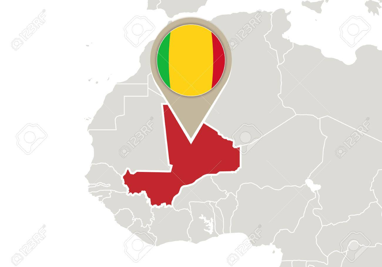 Africa With Highlighted Mali Map And Flag Royalty Free Cliparts ...