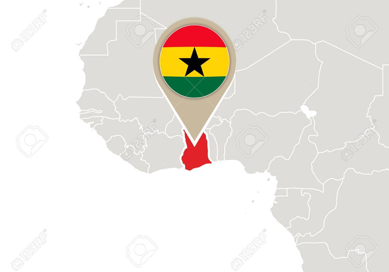 Africa With Highlighted Ghana Map And Flag Royalty Free Cliparts