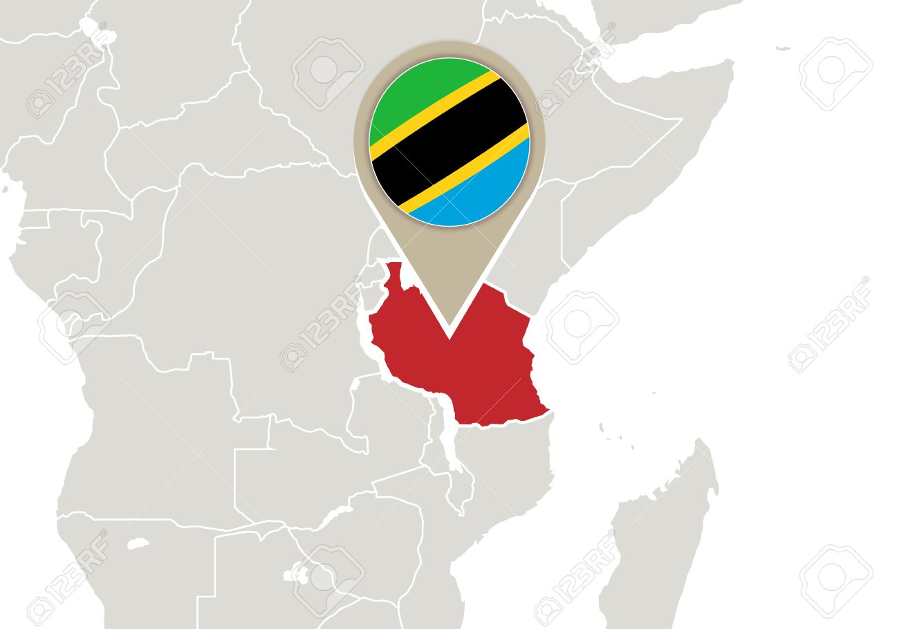 Image of: Africa With Highlighted Tanzania Map And Flag Royalty Free Cliparts Vectors And Stock Illustration Image 35007737