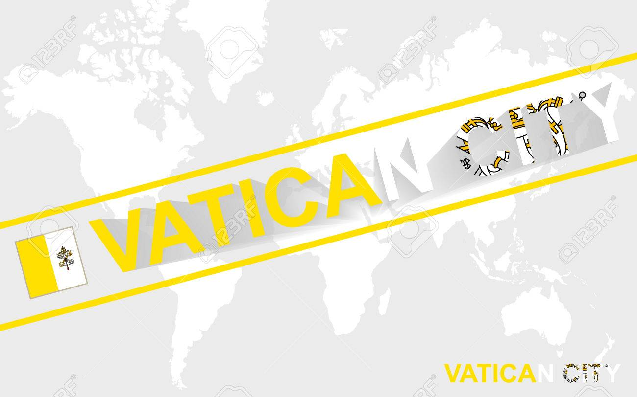 Vatican City On World Map.Vatican City Map Flag And Text Illustration On World Map