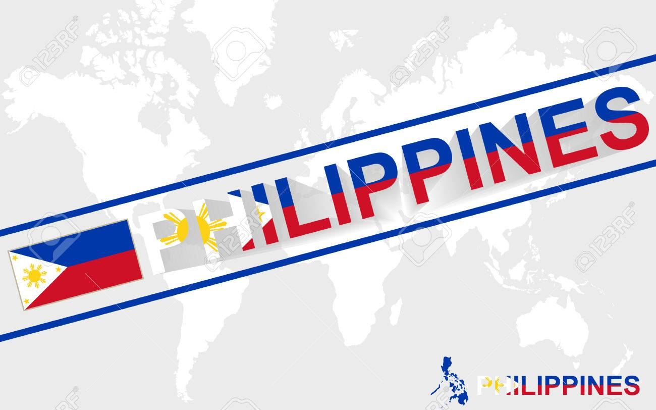 Philippines Map Flag And Text Illustration, On World Map Royalty ...