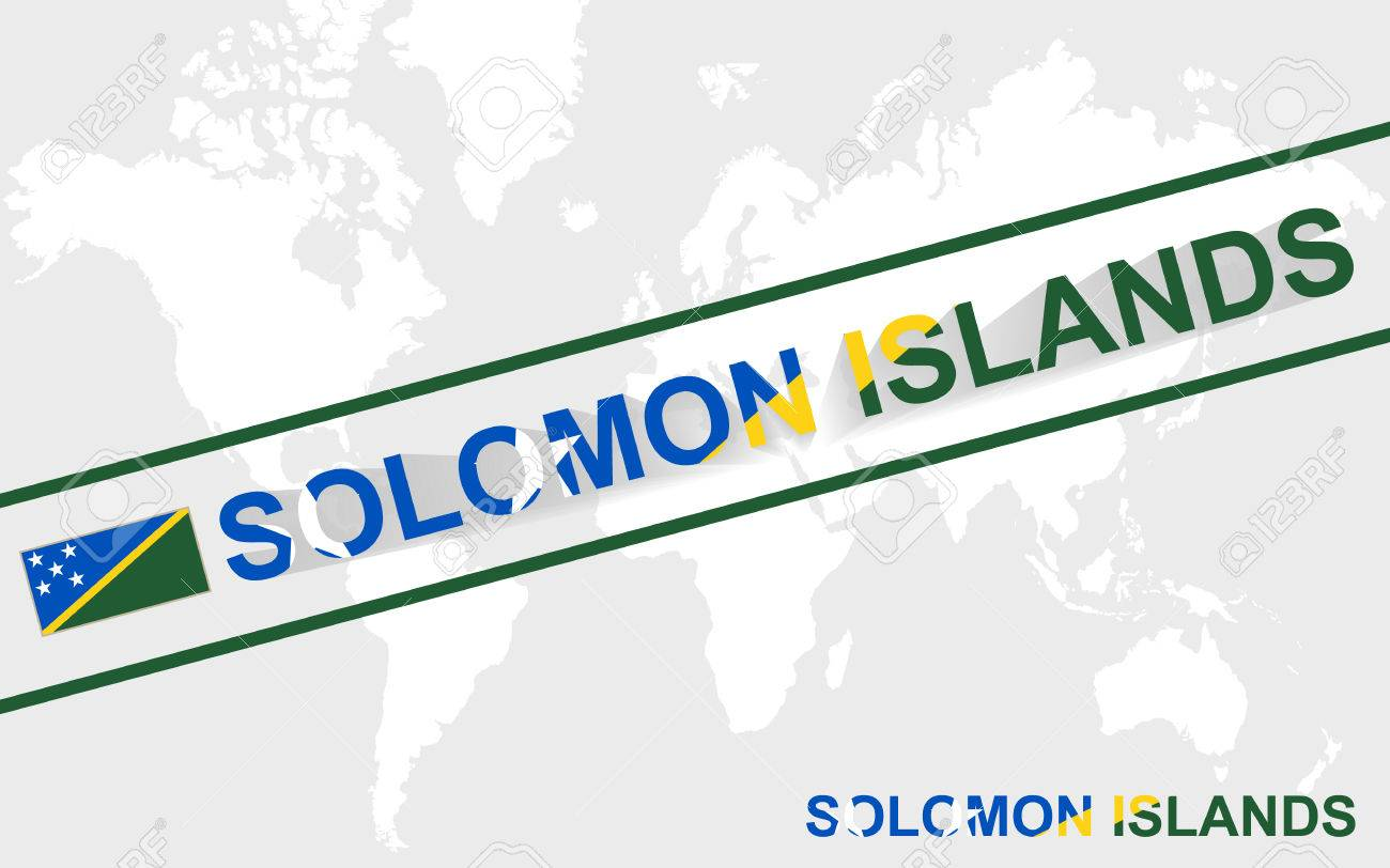Solomon Islands World Map.Solomon Islands Map Flag And Text Illustration On World Map Royalty