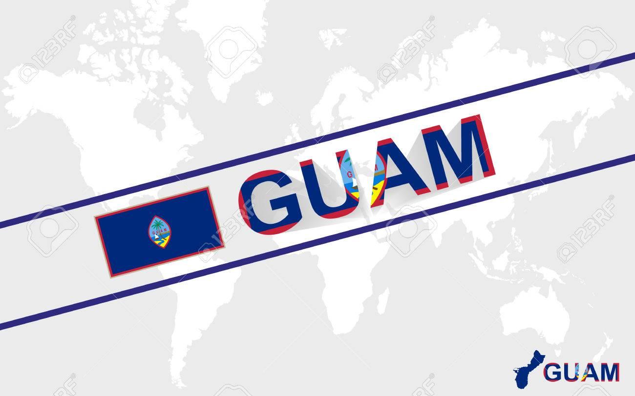 グアム地図の旗やテキスト図、世界地図