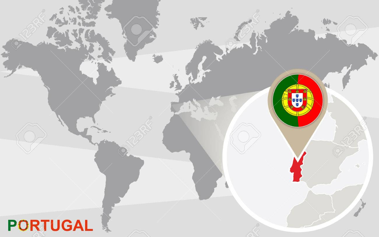 Portugal On The World Map.World Map With Magnified Portugal Portugal Flag And Map Royalty