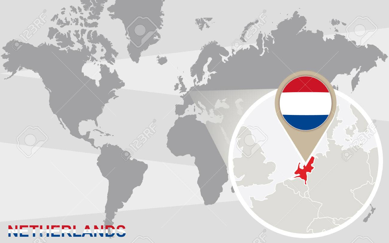 Image of: World Map With Magnified Netherlands Netherlands Flag And Map Royalty Free Cliparts Vectors And Stock Illustration Image 45724059