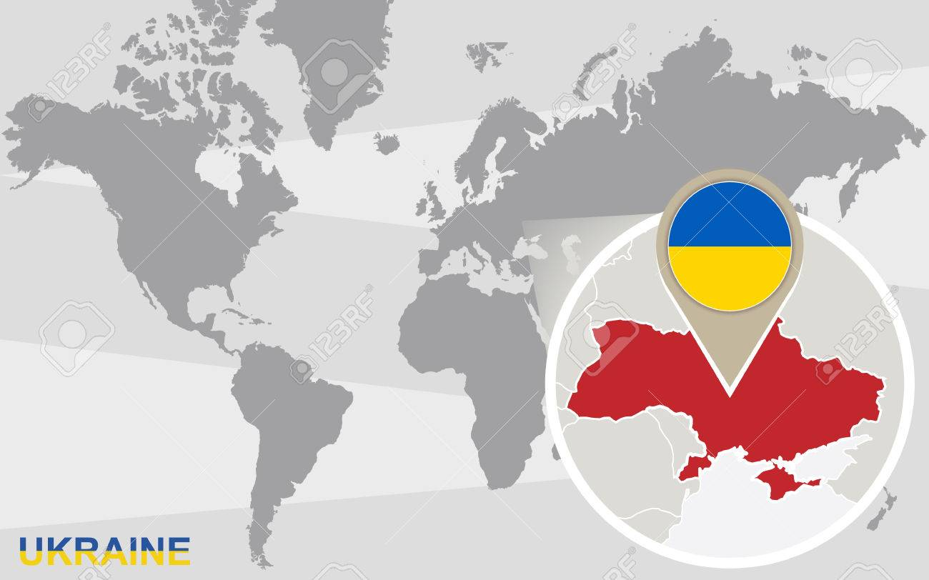 World map with magnified ukraine ukraine flag and map royalty free vector world map with magnified ukraine ukraine flag and map gumiabroncs Gallery