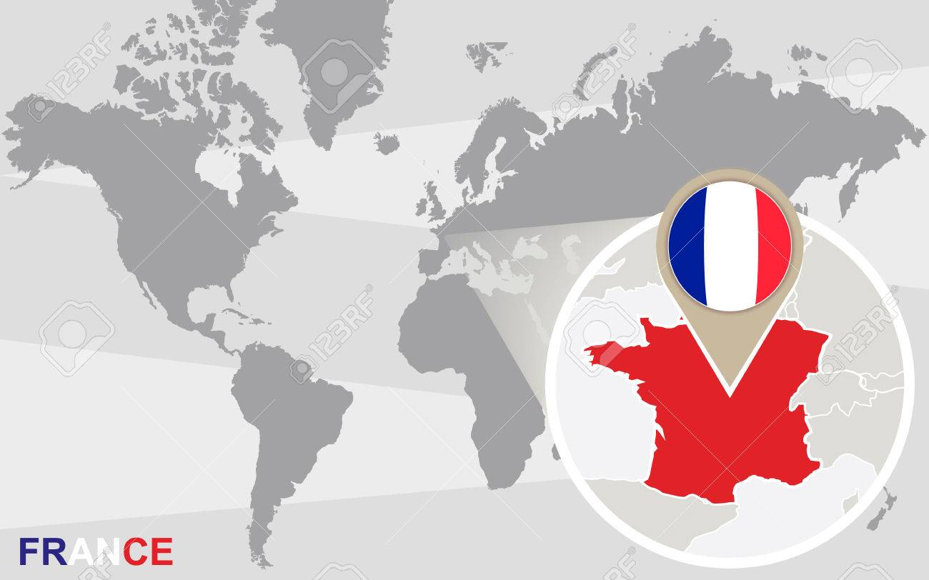 World Map With Magnified France France Flag And Map Royalty Free Cliparts Vectors And Stock Illustration Image 45724066