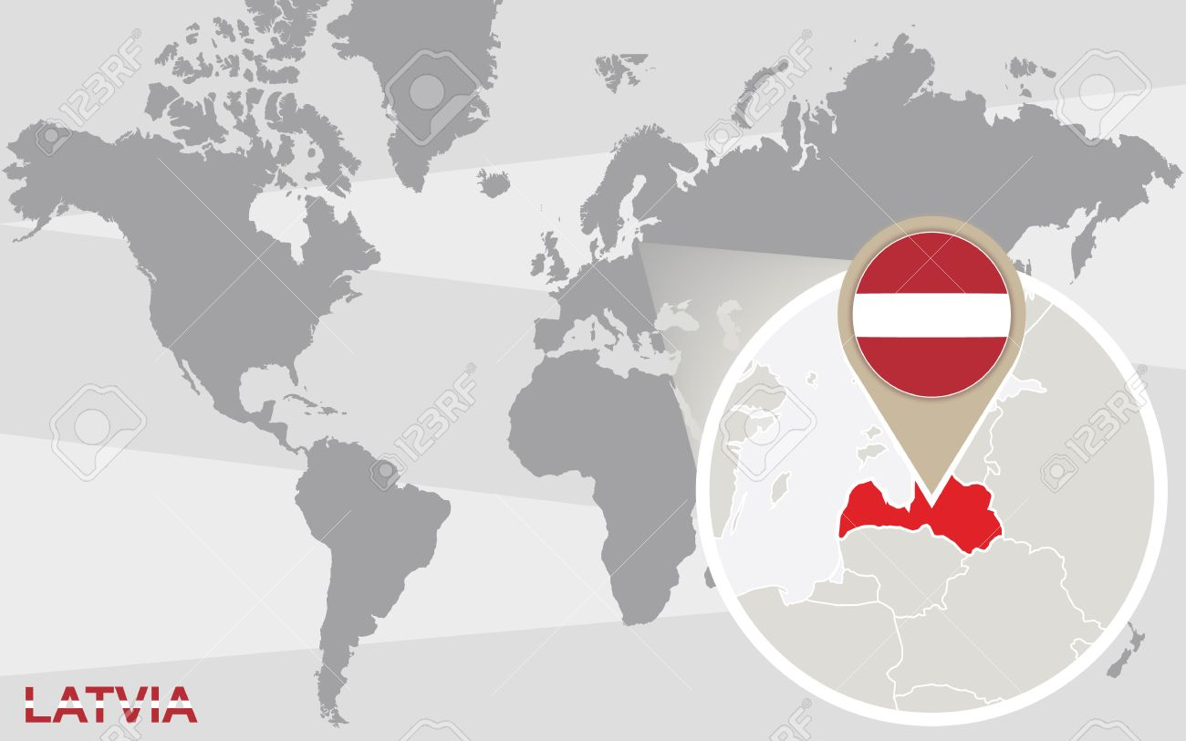 世界地図拡大ラトビアにラトビアの旗地図