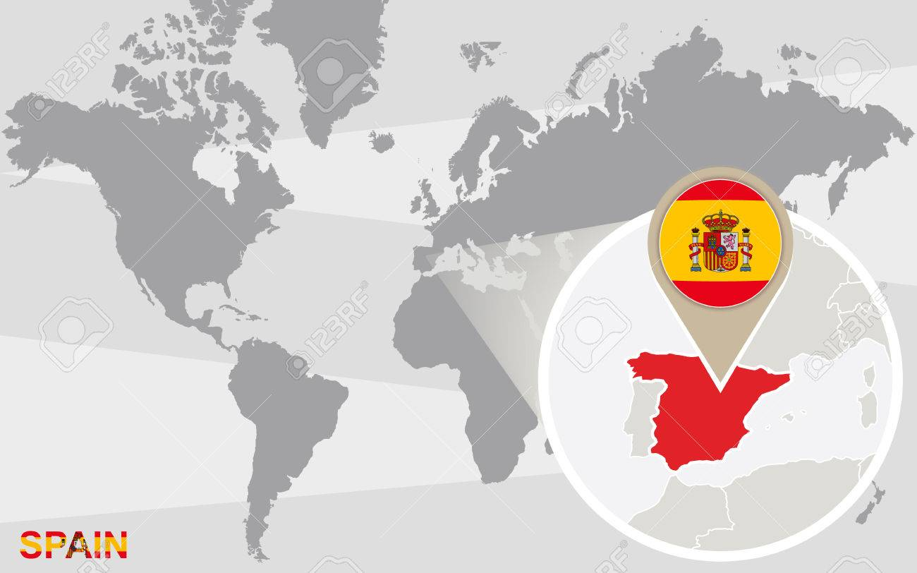Spain In Map Of World.World Map With Magnified Spain Spain Flag And Map
