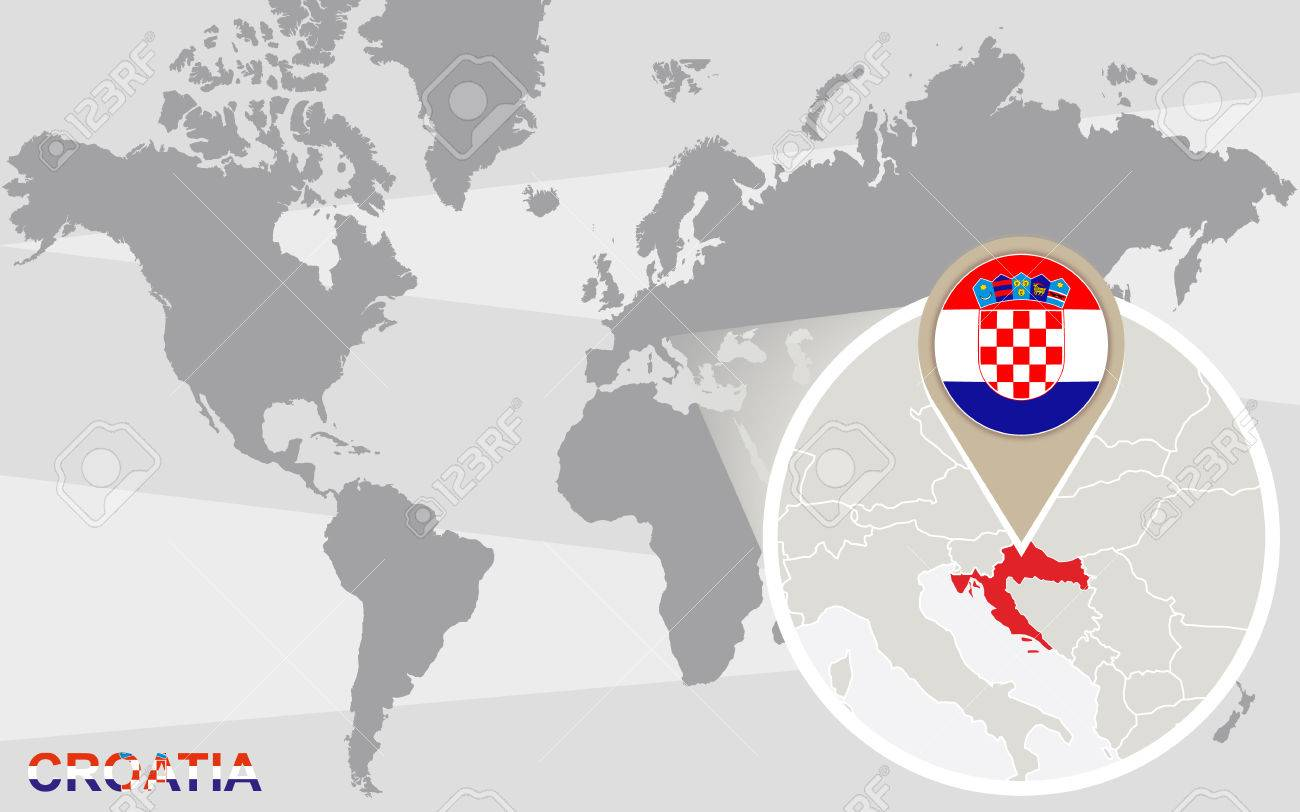 World map with magnified croatia croatia flag and map royalty free vector world map with magnified croatia croatia flag and map gumiabroncs Images